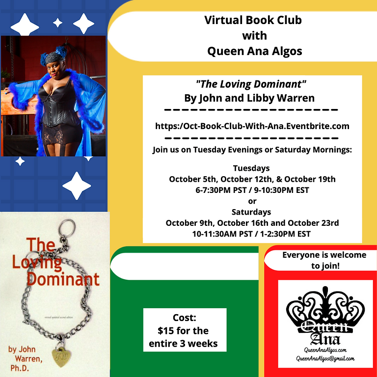 """~Virtual Book Club~ """"The Loving Dominant"""" Tuesdays Oct 5th, 12th, and 19th or join us Saturdays 9th, 16th, and 23rd $15"""