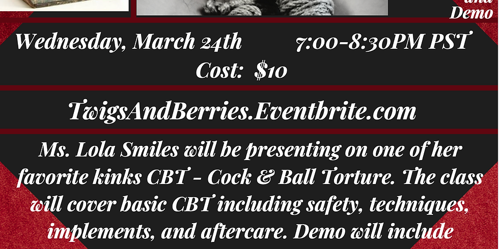 """~Virtual~ Sanctuary's The Course """"Fun w/Twigs & Berries: CBT Class & Demo"""" By Lola Smiles Wed March 24th 7-8:30PM PST $1"""