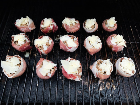 Smoked Prosciutto Wrapped Stuffed Mushroom