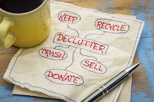 declutter concept (keep, recycle, trash,
