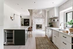 kitchen fireplace view