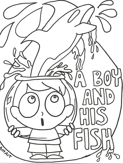 Coloring download page: Boy and his Fish