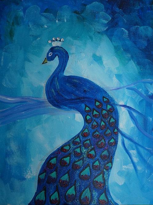 Blue Bling Peacock