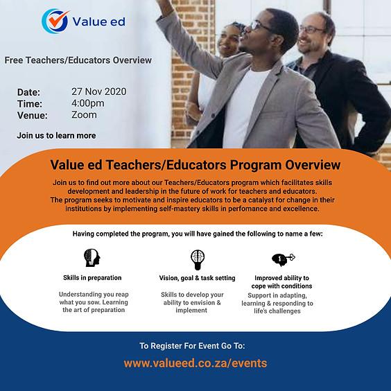 Overview: Teachers/Educators Program