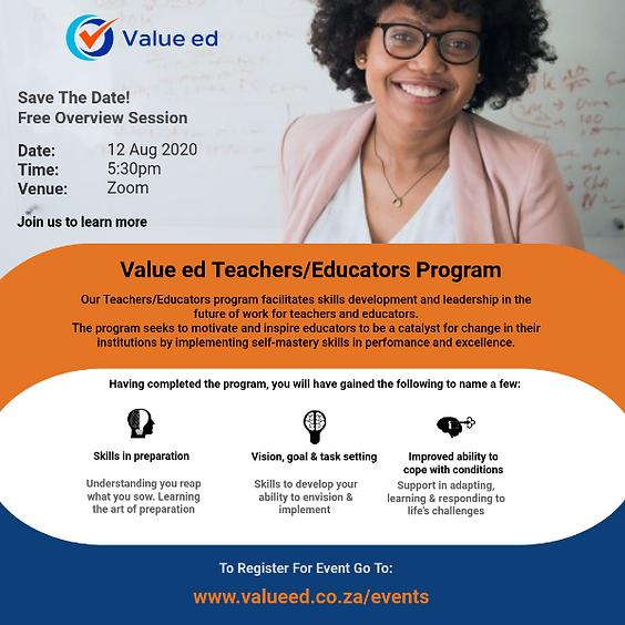 Overview Of Teachers/Educators Program