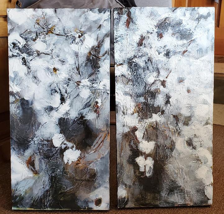 Spellbound Diptych   Canvas, Acrylic, Mixed Media