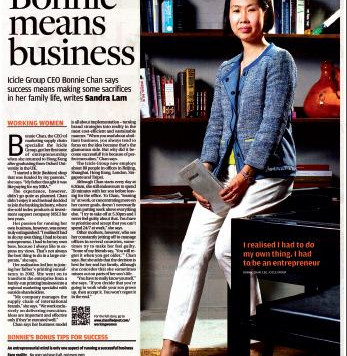 ICICLE'S CEO BONNIE CHAN SPEAKS ABOUT WOMEN AT WORK ON SCMP