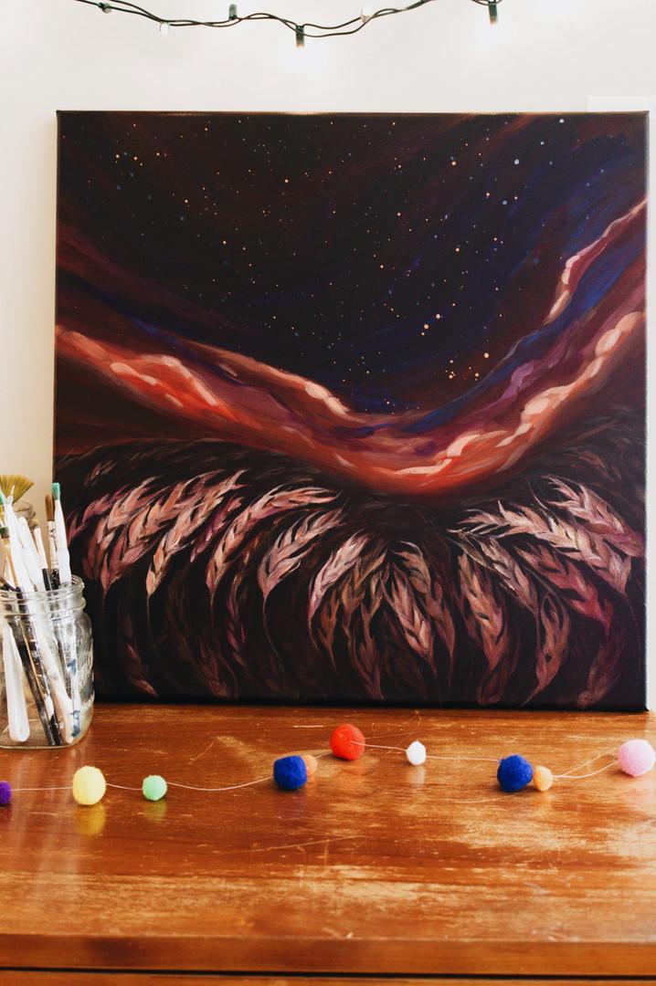 Paris Krahn Art | Wheat Fields + Northern Lights | Heaven's Song