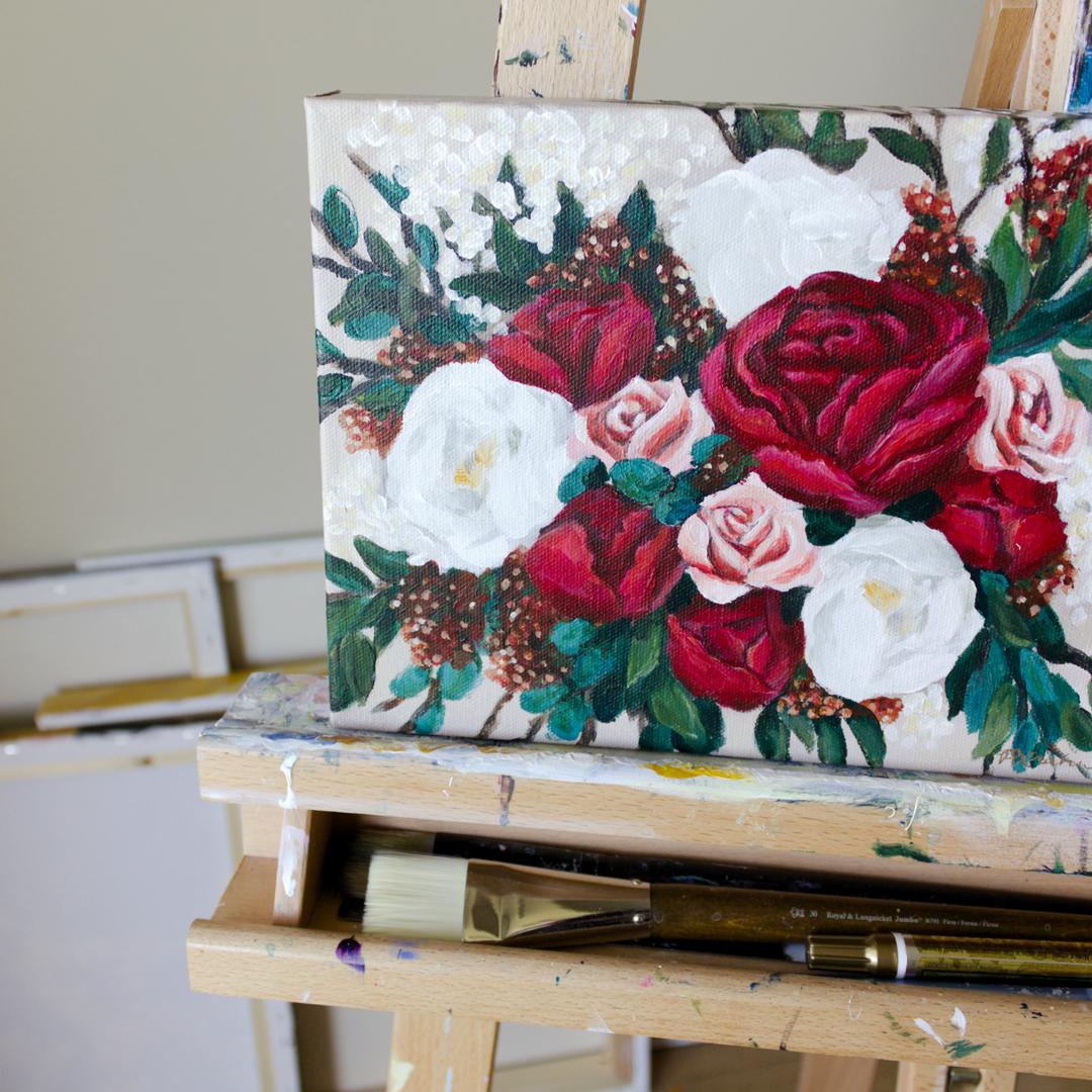 Paris Krahn Art | Red Peonies | Bridal Bouquet