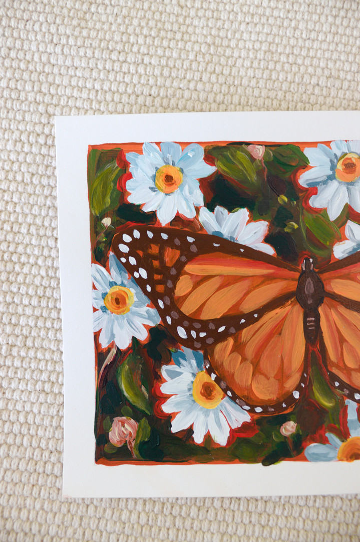 Paris Krahn Art | Monarch Butterfly + Daisies Painting