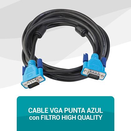 Cable VGA Punta Azul con Filtro High Quality