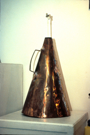 """Copper """"funnel"""" made for the re-enactment of Count Alessandro Volta's 1776 lakeside experiment and the discovery of methane gas and anaerobic bacterica, 38"""" high x 12"""" diameter, 1994"""