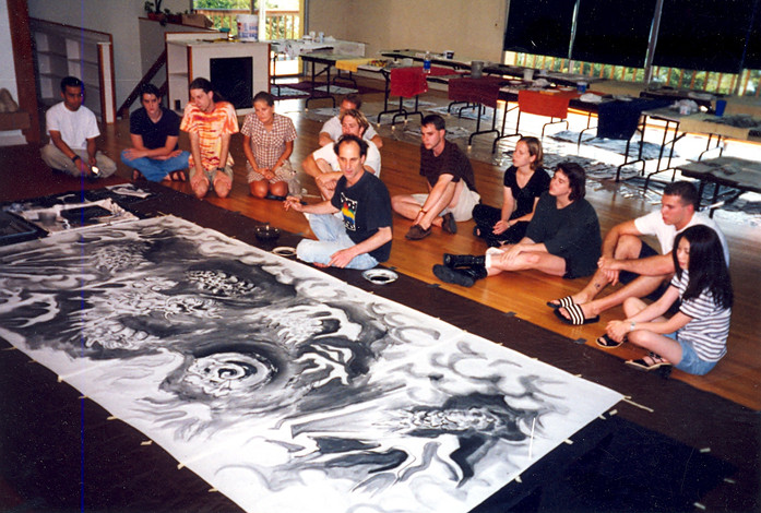 Michael Hofmann painting a dragon at the Horton Studio