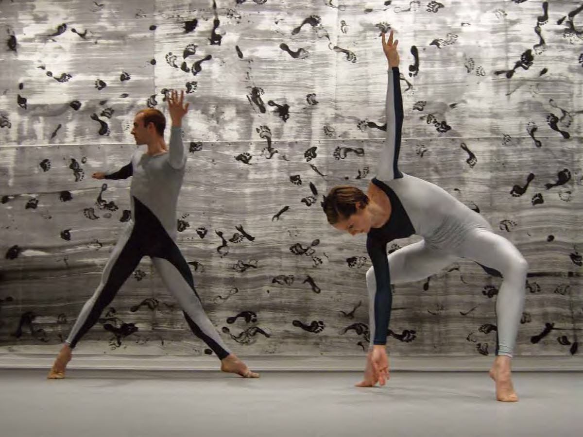 Left: Brandon Collwes and Andrea Weber. Décor: Cunningham Repertory Understudy Dance Group, Dancers II (detail), 2008