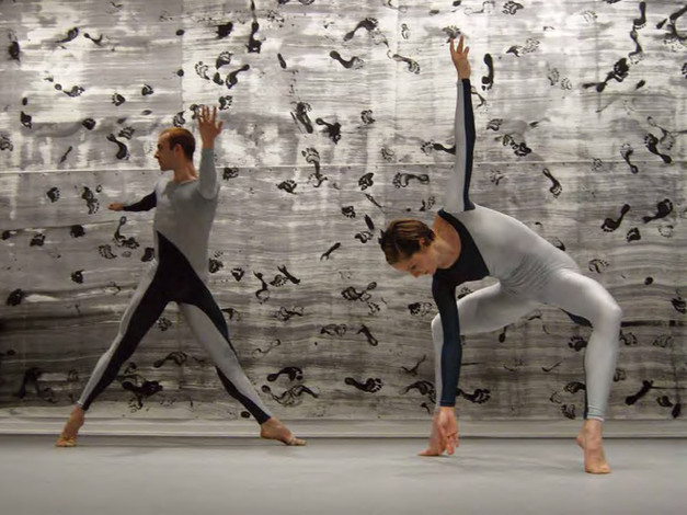 Left: Brandon Collwes and Andrea Weber. Décor: Cunningham Repertory Understudy Dance Group, Dancers II (detail), 2008
