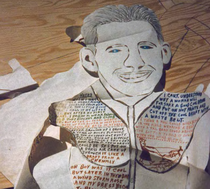 """Cut-out paper stencil """"demention"""" of Howard in his dress. He wore a dress sometimes when he had to plow the Georgia fields in the hot summer weather; he said it was much cooler than wearing overalls."""