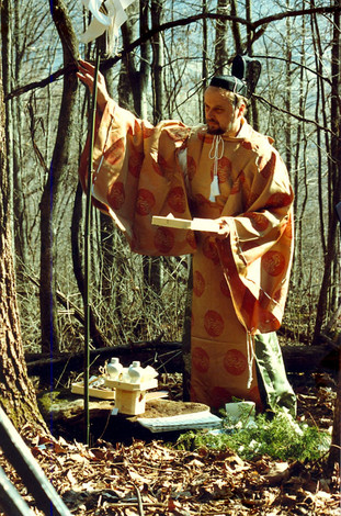 """Ray Kass wearing traditional Shinto priest vestments to conduct the """"Forest Blessing Ceremony"""" on Little Stone Mountain in Wise County, Virginia"""