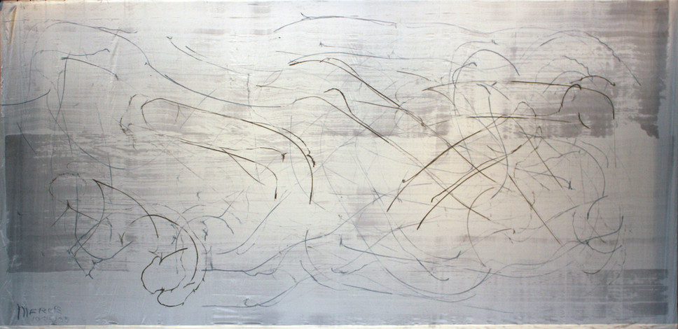 Merce Cunningham and the Repertory Understudy Dance Group with the Mountain Lake Workshop, Dancers III, 2008, a performance of John Cage's STEPS: A Composition for a Painting, water media on rag paper, 198 x 396 in. (502 x 1005 cm)