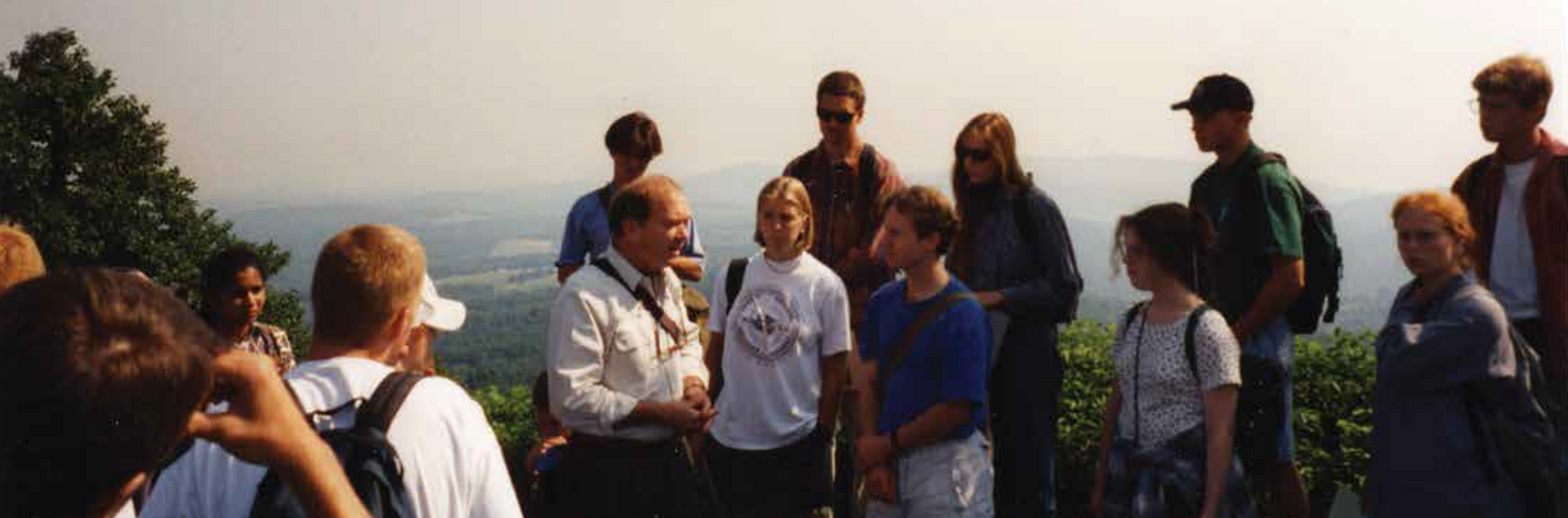 Carlton Abbott (center-left) with our group at Rocky Knob