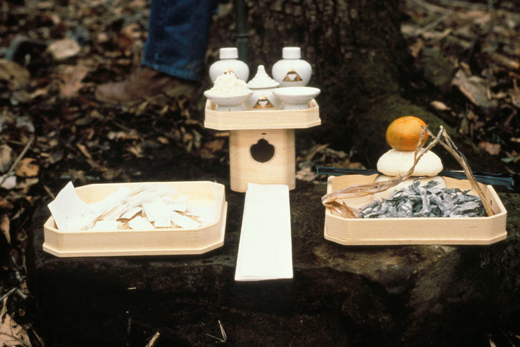 Shinto ceremonial forest altar with offerings and traditional offerings