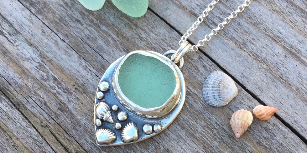 Silver Clay and Seaglass Pendant