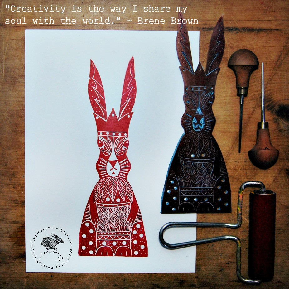 Hare print & Brene Brown quote