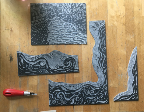 Lino blocks for River Flows in You