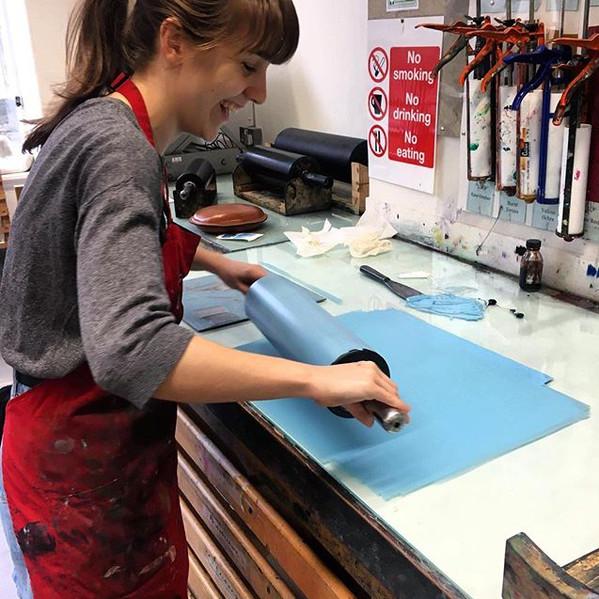 Lino printing in progress