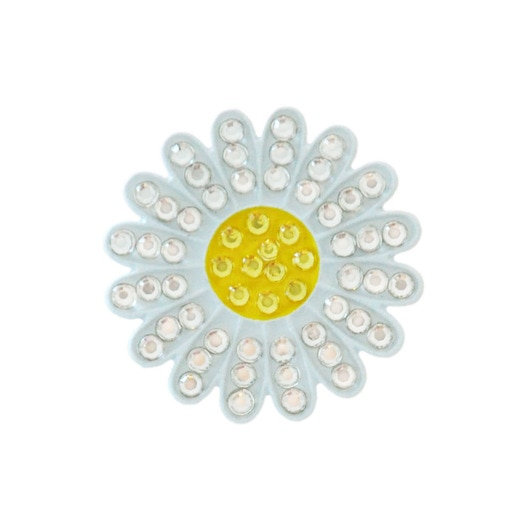 Navika White daises Ball Marker with Crystals from Swarovski® - with Hat Clip