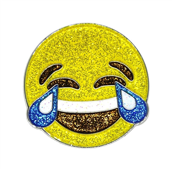 Navika Laugh emoji Ball Marker with Crystals from Swarovski®-with Hat Clip