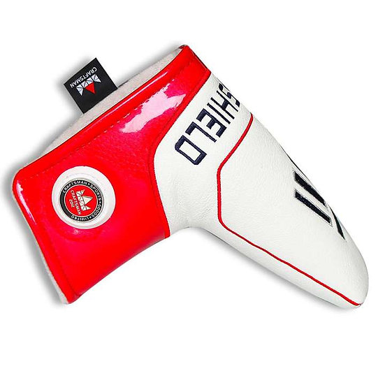 Golf Head Cover Putter Blade CM-Silver Shield Red