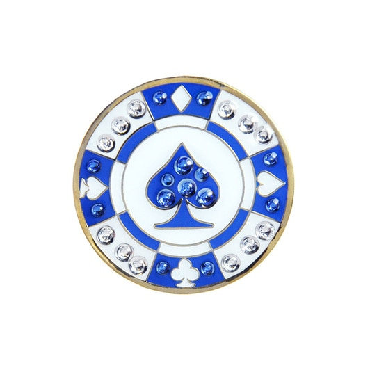 Navika ชิปรูปใบโพธิ์ สีน้ำเงิน Ball Marker Crystals Swarovski® with Hat Clip