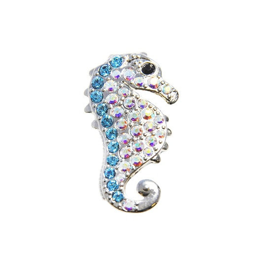 Navika Sky Blue Seahorse Ball Marker with Crystals from Swarovski® - with Hat Cl