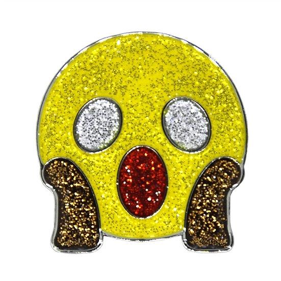 Navika Shocked emoji Ball Marker Crystals Swarovski® with Hat Clip