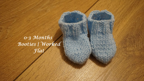 0-3 Months Stockinette Booties | Worked Flat