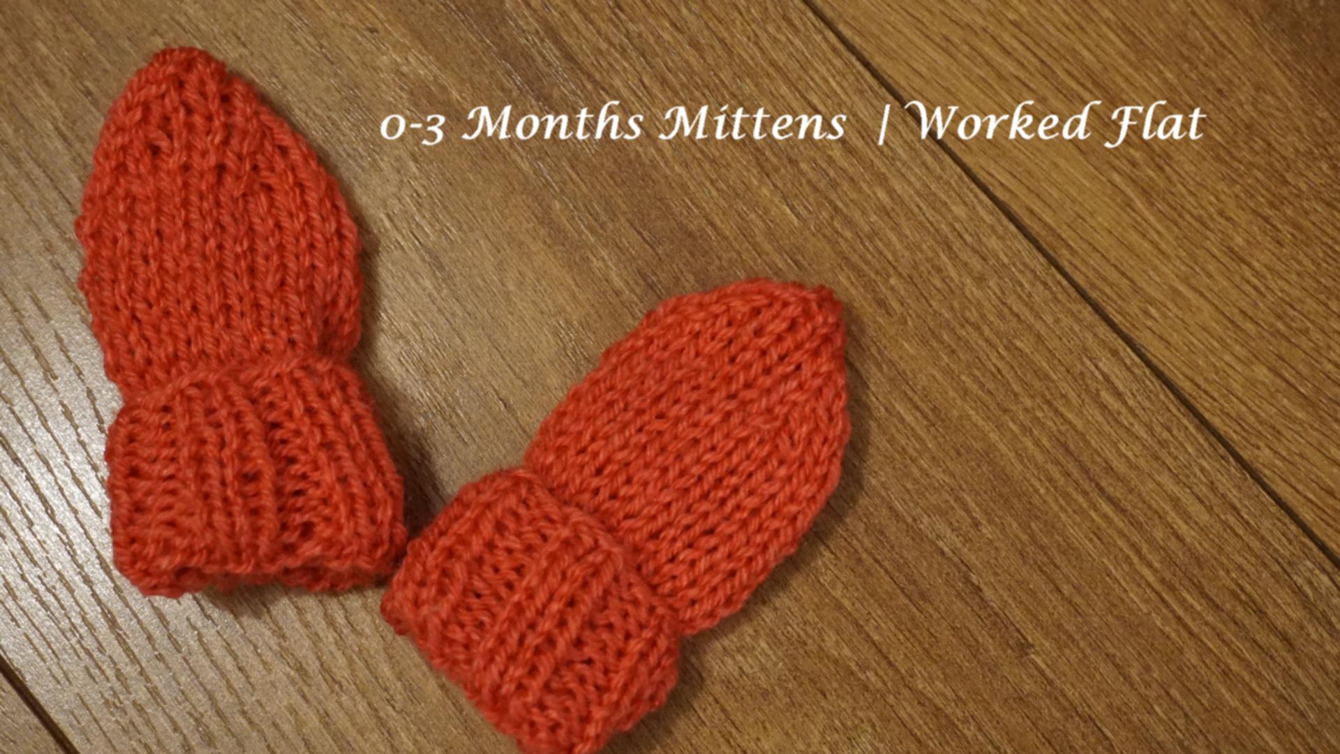 0-3 Months Mittens Worked Flat
