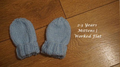 2-3 Years Mittens | Worked Flat