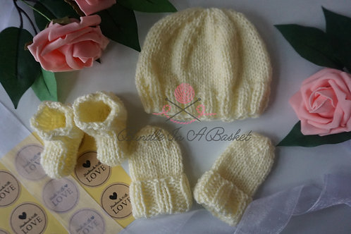 Hand Knitted Premature, Newborn, 0-3 Months Hat, Mittens and Booties/Sock Set