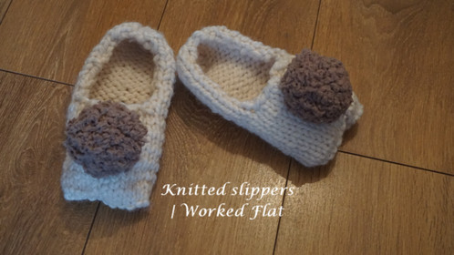 Knitted Slippers | UK Size 5-7 | Worked Flat
