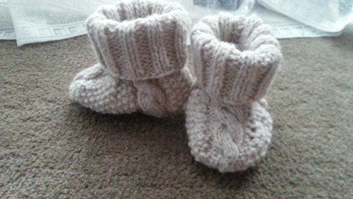 Cable Booties 3-6 Months