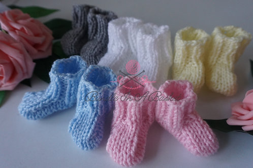 Hand Knitted Premature, Newborn, 0-3 Months Booties/Socks