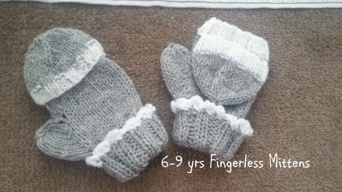 6-9 Years Knitted Fingerless Mittens With Fingertip Cover