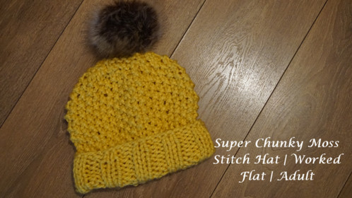Super Chunky Moss Stitch Hat | Worked Flat | Adult