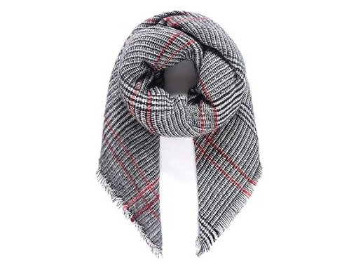 Black/red checked woven scarf