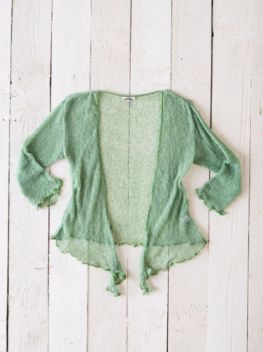 Fair Trade Loose Knit Light Green Gringo Shrug, One Size 6 to 20