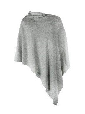 Italian Cashmere Blend Poncho - Lunar Silver