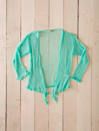 Fair Trade Loose Knit Pale Green Gringo Shrug, One Size 6 to 20