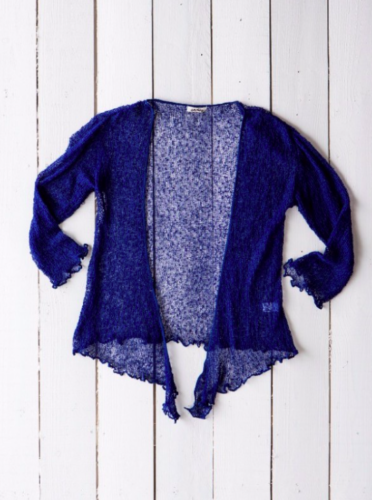Fair Trade Loose Knit Navy Blue Gringo Shrug, One Size 6 to 20