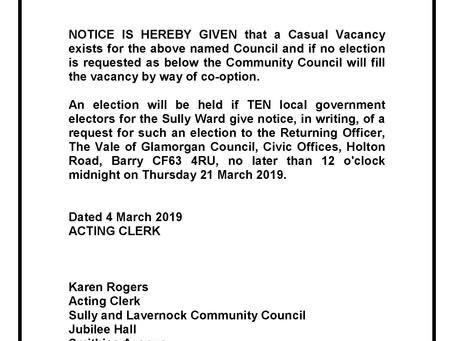 Casual Vacancy Notice