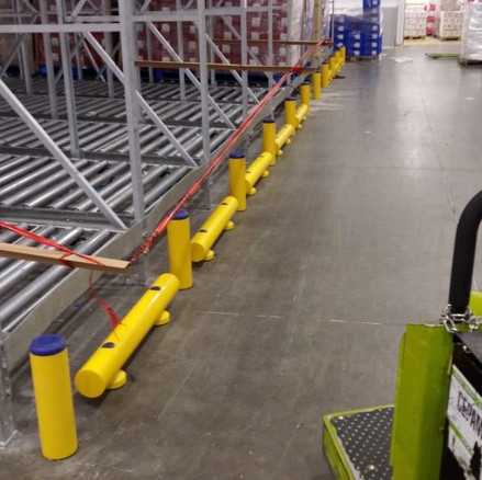 Low Guiderail Complemented with Bollards for Added Protection